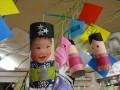りす組の飾り:子どもたちの顔写真を織姫・彦星に