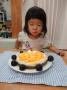 とわちゃん 2歳の誕生日おめでとう さあ一度に二本のロウソク、消せるかな?