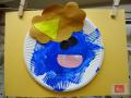 鬼の福笑い: キレイな青色。一生懸命に筆を使って描いた様子が見てとれますね。
