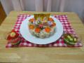 行事食「ひなまつり」: 鮭のちらしご飯 ・三色寒天寄せ(緑:グリンピース 白:ヨーグルト) ・すまし汁
