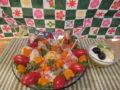 色つきソーメンとリンゴ寒天ゼリーでお祝い。