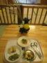じゃが芋団子のみたらしあん・青のりご飯・青菜の煮びたし・すまし汁