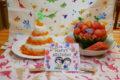 にんじんしりしりのごはんケーキとデコレーション すいか